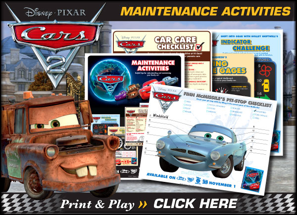 Download Printable Cars 2 Maintenance Activities!